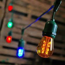 Edison Bulb String Lights 100 Foot Green Wire Multi Color Commercial Led Edison Drop String