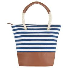 nautical bags blue white nautical stripe tote bag apricot