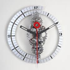 shining gear clocks wall modest design gear wall clock black