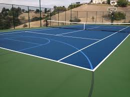 Backyard Basketball Court Ideas like tennis like basketball why not have both check out this