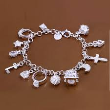 silver plated bracelet chain images 925 silver plated various pendants bracelet for women lady jpg