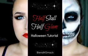 Skeleton Face Paint For Halloween by Blend N Smack Halloween Tutorial 1 Half Skull Half Glam