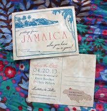 destination wedding save the dates coral teal palm tree antique destination postcard save the dates