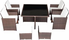 9 Piece Patio Dining Set - outsunny 9 piece outdoor dining set w stowaway table and chairs