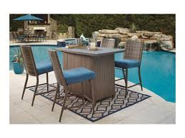 signature design by ashley partanna outdoor bar table w fire pit