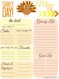 thanksgiving thanksgiving basic menu planner template printable