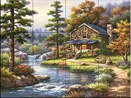 ceramic tile murals for kitchen backsplash ceramic tile mural mountain creek cabin by sung kitchen