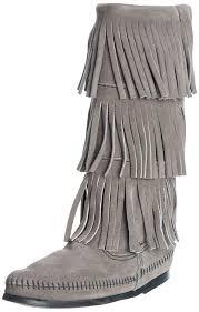 minnetonka 1631t women u0027s boots grey shoes minnetonka fringe boots