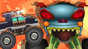 kids monster truck video haunted house monster truck rise of double hh police car