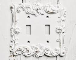 metal wall decor light switch cover in white shabby