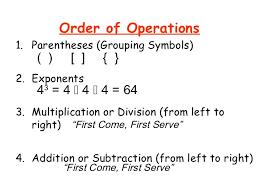 order of operations worksheet integer order of operations