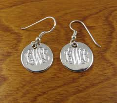 monogram earrings monogram earrings sterling silver monogrammed