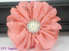bow supplies coral chiffon scalloped flower diy headband fabric flowers