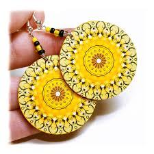 decoupage earrings rosette earrings mandala summer yellow decoupage