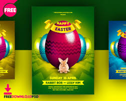 03 colors happy easter flyer free psd freedownloadpsd com