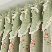 floral green blackout shabby chic curtains