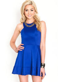 a royal blue short cocktail somewhat casual dress on the hunt