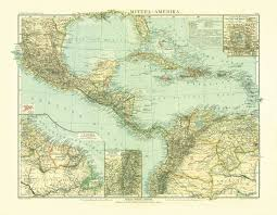 Map Of South And Central America Old Map Of The North And Central America In 1905 Buy Vintage Map