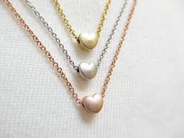 Personalized Heart Necklace Amazon Com 16k Gold Rose Gold Silver Heart Necklace Dainty