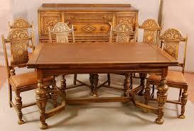 jacobean style 1920 u0027s oak 8 pc dining room set wi