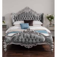 bedroom silver antique french style crushed velvet p40525 31439