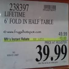 Lifetime 6 Folding Table Costco Deal Lifetime 6 Fold In Half Table 39 99 Frugal Hotspot