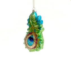 glass ornament peacock feather renio clark