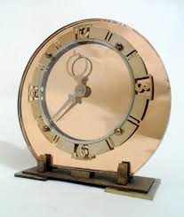 objet deco retro vintage clock art deco wind up rose pink mirror back mantel clock