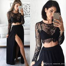 women long black see through evening dress 2017 two pieces