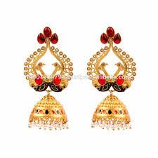 big jhumka gold earrings ethnic big mughal pearl beaded colored enamel peacock style
