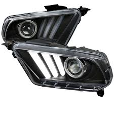 mustang projector headlights mustang headlight projector 2015 style led black clear pair 2010 2012