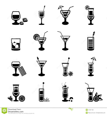black and white cocktail icons set stock vector image 51831792