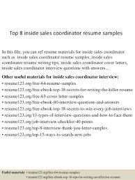 inside sales resume top 8 inside sales coordinator resume sles 1 638 jpg cb 1431193192