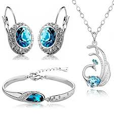 blue crystal necklace set images Buy valentine gift by shining diva blue crystal combo jewellery of jpg