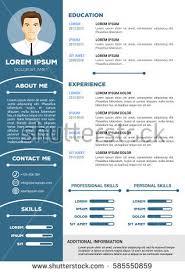 personal resume template creative minimalistic personal resume cv template stock vector