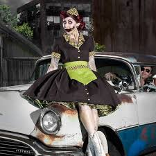 50s Pin Halloween Costumes Zombie Car Hop Costume Retro 50s Waitress Dress Mgdclothing