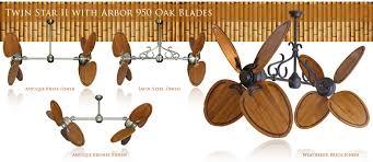 twin star ii ceiling fan 50 inch double twin star ceiling fan with abor 950 dark walnut blades