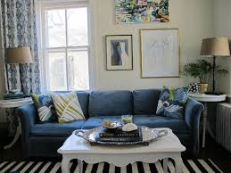Blue And Black Rug Gray Sofa With L Shape And Cushions Combined Cream Wooden F Table