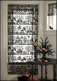 spooktacular black lace curtain panel haunted mansions witches