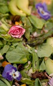 Salad With Edible Flowers - spring salad with fava beans asparagus chive and viola flowers