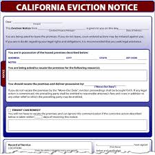 Termination Notice California by Eviction Notice