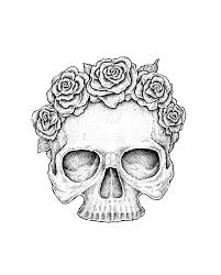 use ink liners to create a skull and roses drawing