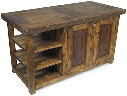 wooden kitchen islands rustic wood kitchen island with iron accents