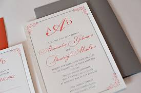 coral wedding invitations coral and grey wedding invitations plumegiant