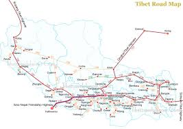 map on road tibet road travel information tibet road map