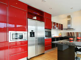 modern kitchen with red colored kitchen cabinets with regard to