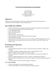Resume Key Skills Examples Example Of Financial Analyst Resume Resume For Your Job Application