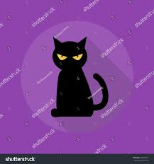 halloween cats background halloween flat icon long shadow black stock vector 309459821