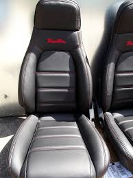 mazda mx5 logo seats mazda mx 5 pair in new black leather red stitching
