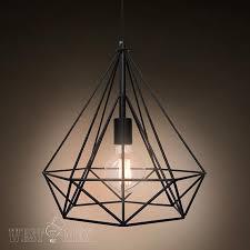 Diy Industrial Chandelier Metal Wire Diamond Pendant Lamp Diy Industrial Vintage Iron Cage